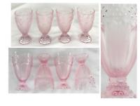 Vintage Gorham PINK Glass Pedestal Goblets 14 oz. Hobnail Herringbone Set of 4