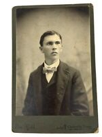 Antique Cabinet Card Young Man with Suit Tie 1800s Black White Photo Texas e1