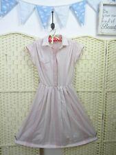 VINTAGE pale pink 80s tea dress festival boho shirt waist sheer fit & flare S/M