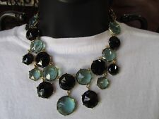 NEW CHICOS Bib Necklace Gold Tone with Blue and Black Bubble Discs SAMPLE