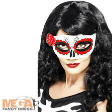 Mexican Day Of The Dead Eyemask Womens Fancy Dress Ladies Halloween Costume Mask