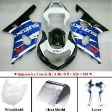 ABS Fairing Bodywork Kit Set For Suzuki GSXR600 750 GSXR1000 2001-03 Blue White