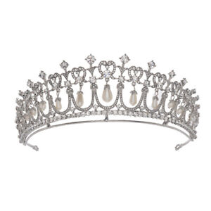 5.5cm High Pearl Crystal Queen Wedding Bridal Party Pageant Prom Tiara Crown