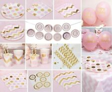 Pink Party Tableware Paper Plates Cups Napkins Balloons Chevron Polka Dot Girl