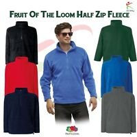 Fruit of the Loom Mens Half Zip Fleece Jacket Warm Casual Workwear Leisure S-2XL