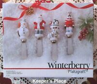 4 Pfaltzgraff Winterberry Spreaders Stocking Santa Snowman Nutcracker New In Box