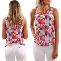 Fashion Women Summer Printed Vest Top Sleeveless Blouse Casual Tank Tops T Shirt