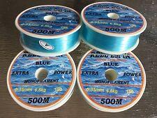 2000m Reel-em-in mono Fishing Line 15lb 4x 500 M Blue 0.35mm rods,reels D6509bx4
