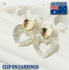 18CT Gold Plated  Clip On Earrings With Crystal Heart