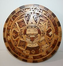 Hand Crafted Wood Aztec Wall Calendar or Sun Stone Folk Art with Papers