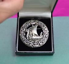 Outstanding Scottish sterling silver Viking boat Brooch Ward Bros Edinburgh 1950
