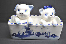 "VINTAGE DELFT BLUE HAND PAINTED HOLLAND ""PIG SALT AND PEPPER SHAKERS"" 3 PIECES"