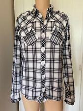 "All Saints Black White Grey Smart Casual Mens Shirt M Medium Long Sleeve 20"""