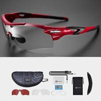 RockBros Cycling Polarized Photochromatic Glasses Myopia Frame Sunglasses Red