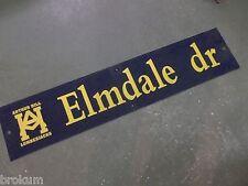 """Vintage ARTHUR HILL / ELMDALE dr STREET SIGN 42"""" X 9"""" GOLD LETTERING ON BLUE"""