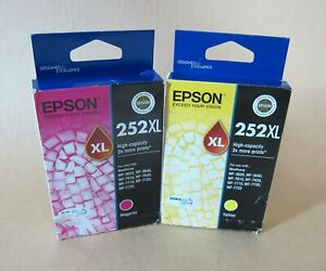 [1387*] 2x (Two) EPSON 252XL INKS - MAGENTA and YELLOW INK ( RRP>$90 )