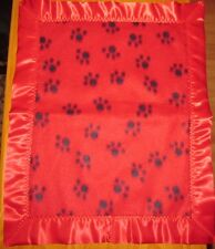 PAW PRINTS, Fleece & Satin Baby/Toddler Security Blanket