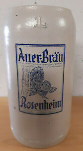 Bierkrug Steinkrug Masskug Brauerei Auer Bräu Rosenheim 1L