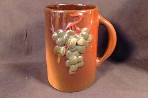 WELLER FLORETTA Art Pottery Antique STANDARD GLAZE MUG W GRAPES SGND