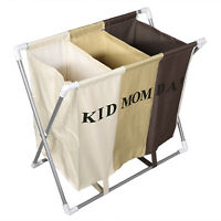 3 Sections Basket Hamper for Laundry Foldable Wash Clothes Dirty Storage Home