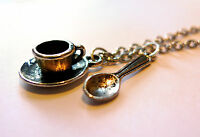 Mini Teacup & Spoon Charm Necklace -Alice in Wonderland-Silver Cup-Tea Gift