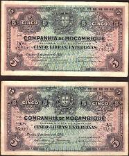 Mozambique 5 Libras  1934 P-R32   VF x 2