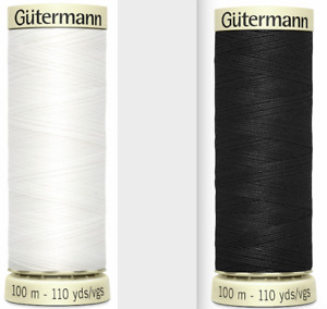 Gutermann Sew-All 100m Polyester Thread Pack of 5 Black or White + FREE P&P