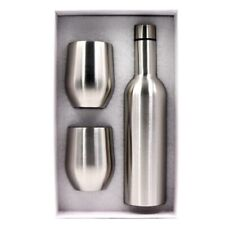 Vacuum Insulated Wine Bottle 750Ml & Two Wine Tumblers with Lids 12Oz. H8C3