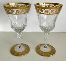 """2 ST LOUIS CRYSTAL WINE GOBLET CALLOUT  7"""" h, 3 5/8"""" w,  - SIGNED"""