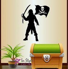 Vinyl Decal Pirate Corsair Pirates Flag Kids Boys Room Wall Decor Sticker 552