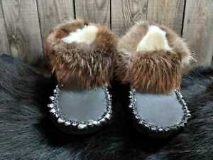Unisex  Fur Slippers, Real Beaver Fur Soft Sole Slippers, Handmade in Canada