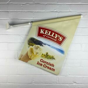 Walls Ice Cream Kellys of Cornwall Cornish Double Sided Advertising Flag Banner