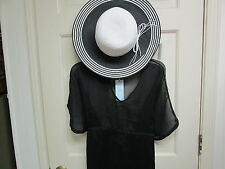 Black Butterfly Tunic Cover-Up, Size S/M and Black/White Straw Hat, NWT