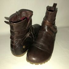 Romika Ladies Cowboy Leather Zip Low Flat Smart Ankle Boots Brown Size 3 7