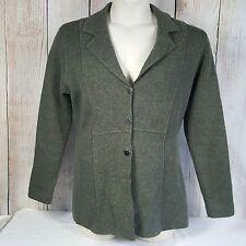 Sarah Spencer 100% Wool Jacket L Gray Ribbed Sides Sleeves Career V Neck Fitted