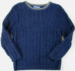 NWT Just Friends Boy's Navy Blue Cable Knit Crewneck Sweater, L (6)