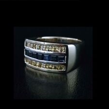 Brand New 18ct yellow white gold Australian golden and blue sapphire set ring