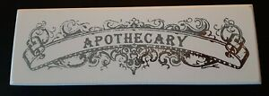 Apothecary New Wood Sign, White and Silver Color 1.5 x 8 inches