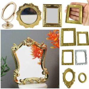 Square Miniature Retro Mirror 1:12 Scale Mini Gloden Frames Doll Accessories