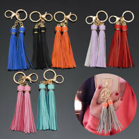 Women's Fringe Keyring Tassel Keychain Leather Lobster Clasp Bag Charm Accessory