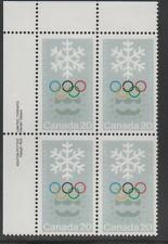 CANADA 1976 UL Plate Block Stamp  #688 20¢ WINTER OLYMPICS Rings Snowflake MNH