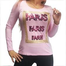 langarm Shirt Aufschrift  PARIS in Pink Pailletten sweet Baby Rosa Gold Kette