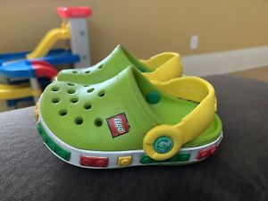 "CROCS ""LEGO"" Baby Toddler Clogs Shoes Sandals Size 4 - 5 Bright Lime Green"