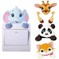 Removable Wall Light Switch Stickers Cute Cartoon Animals Panda Kids Room Decors