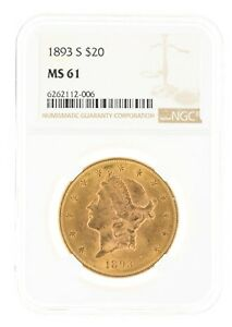 1893-S NGC MS61 $20 Liberty Head Double Eagle San Francisco Minted Twenty Dollar