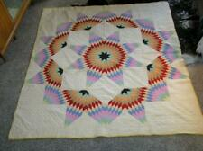 "Antique QUILT Medicine Wheel Star Variation Hand stitched Patchwork  76"" x 86"""