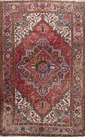 Geometric Semi Antique Heriz Area Rug Hand-knotted Living Room Wool Carpet 7x10