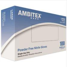 100ct AMBITEX Powder Free Nitrile General Purpose Gloves LARGE Size Blue NLG5201