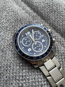TISSOT Herrenuhr Blau/Silber Edelstahl Chronograph - Armband defekt