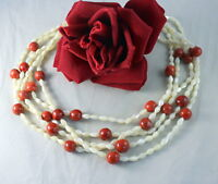 Vintage 5 Strand Mother of Pearl & Coral Beaded Necklace CAT RESCUE